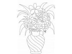 Картинки раскраски цветы в вазе 8