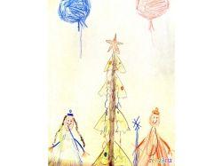 Рисунок елка новогодняя 5