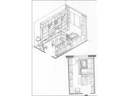 Перспектива комнаты с мебелью 1