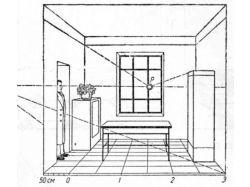 Перспектива комнаты с мебелью 2