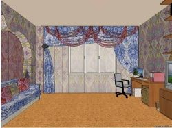 Перспектива комнаты с мебелью 3