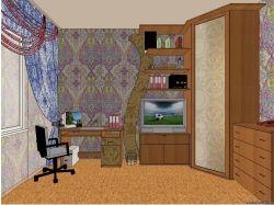 Перспектива комнаты с мебелью 7