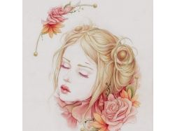 Рисунки девушек цветным карандашом