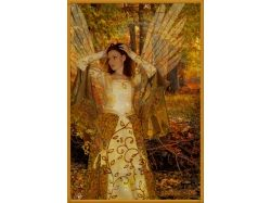 Картины женщина осень