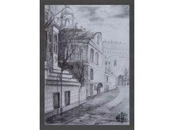 Рисунок карандашом городской пейзаж