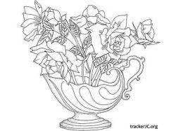 Раскраски цветы букеты 3