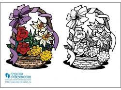 Раскраски цветы букеты 6