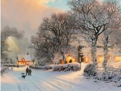 Обои зима в деревне