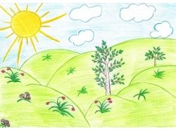 Детские рисунки на тему лето