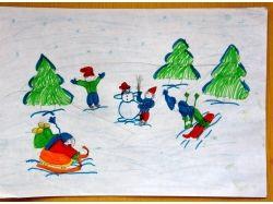 Рисунки зимние забавы