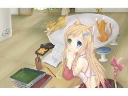 Картинки аниме девушек неко