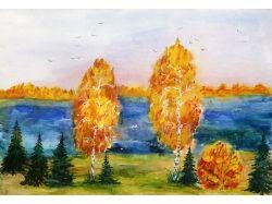 Детский рисунок на тему осень