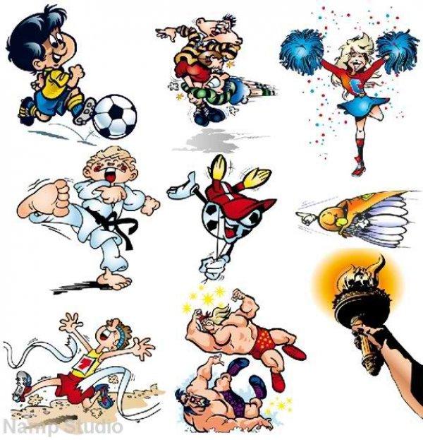 Рисованные смешные картинки про спорт, открытка дню