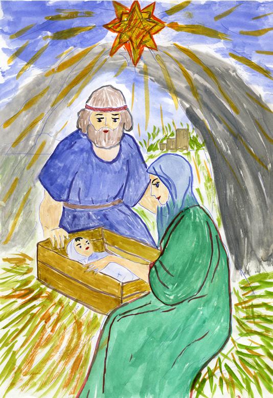 Рисунок на тему рождество христово для детей