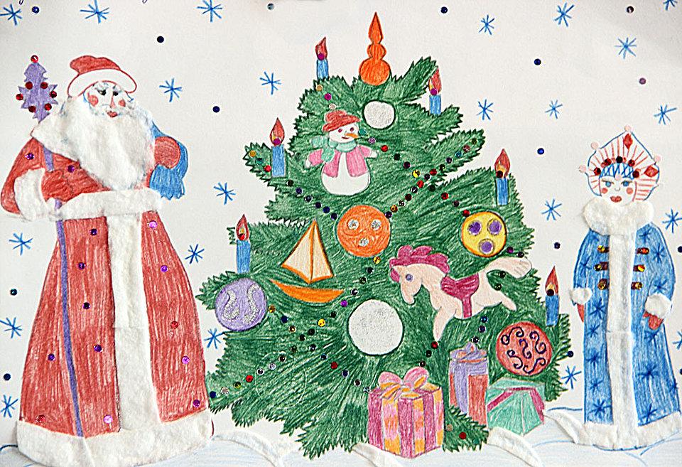 Как нарисовать на открытке на новый год