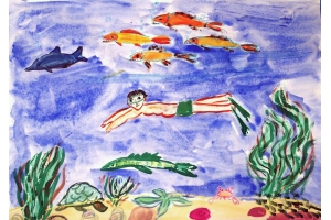 Детские рисунки на тему подводный мир