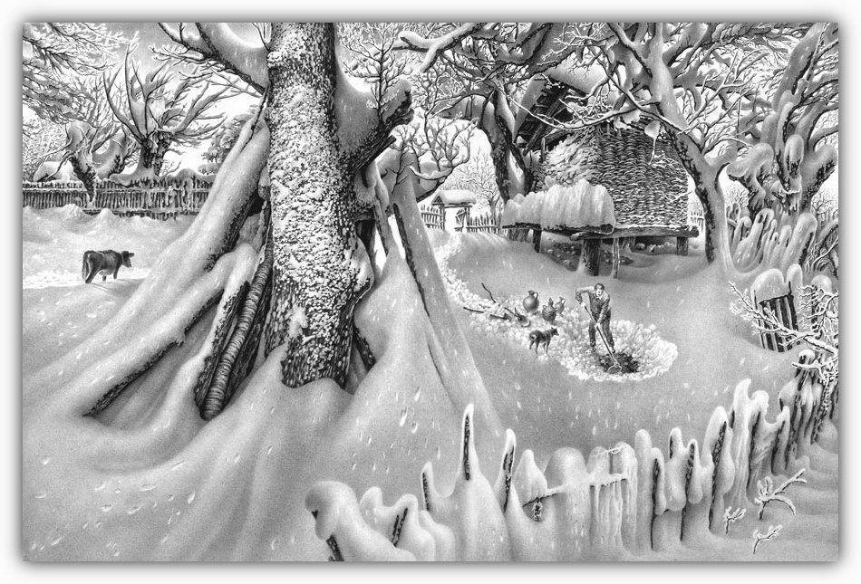 карандашные картинки зимы полоску тесьмы