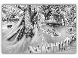 Зима рисунок карандашом