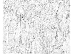 Раскраска пейзаж природа 3