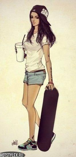 причин как нарисовать девочку со скейтом самый старый парк