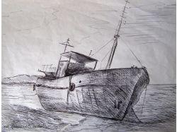 Корабль рисунок карандашом 1
