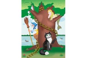Иллюстрации к сказкам пушкина у лукоморья дуб зеленый ...