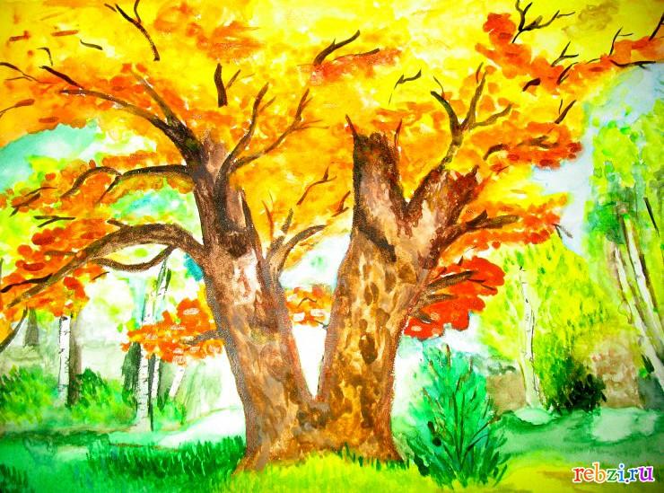 Картинки осень рисовать в школу