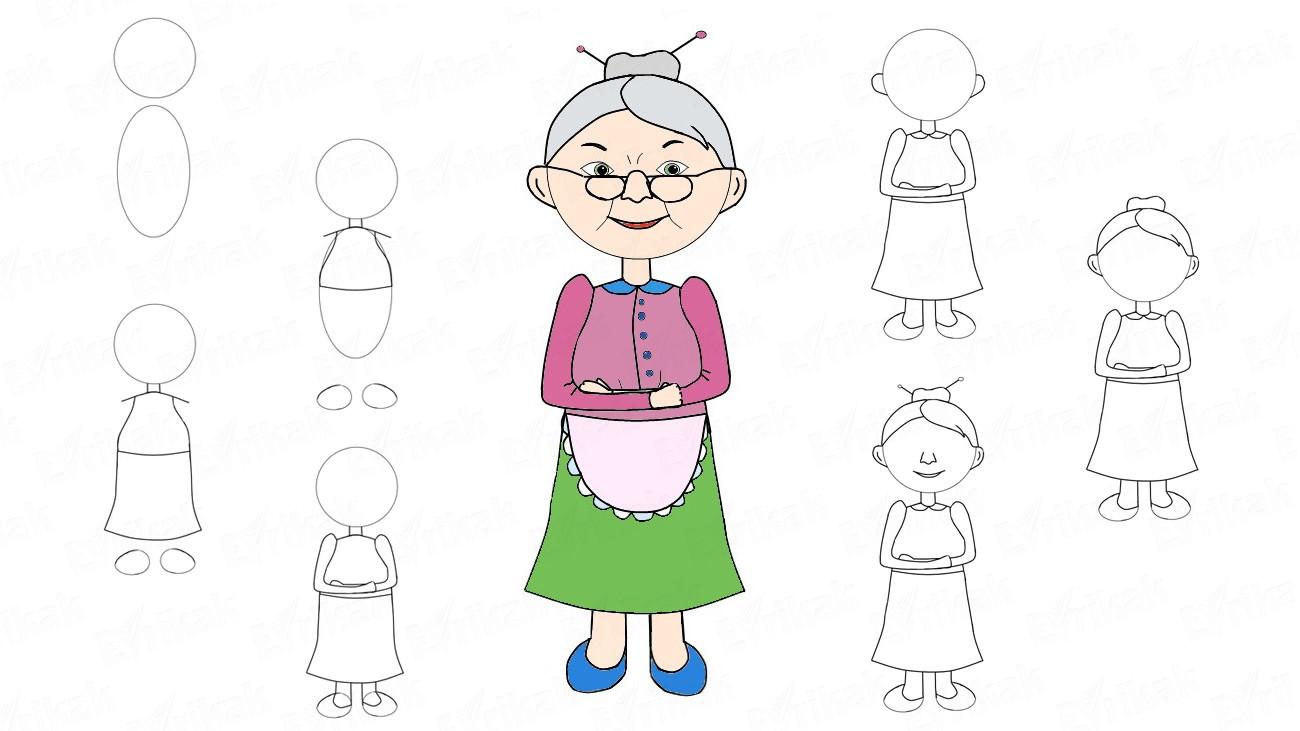 Открытка для срисовки бабушки на день рождения