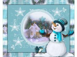 Картинки зима снеговик