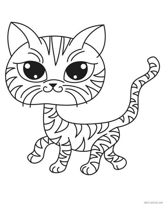 Картинка кошка для детей раскраска » Скачать лучшие ...
