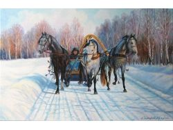 Фото тройка лошадей