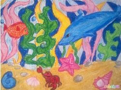 Детские рисунки подводный мир осьминог