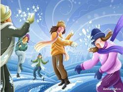 Картинки зима дети играют