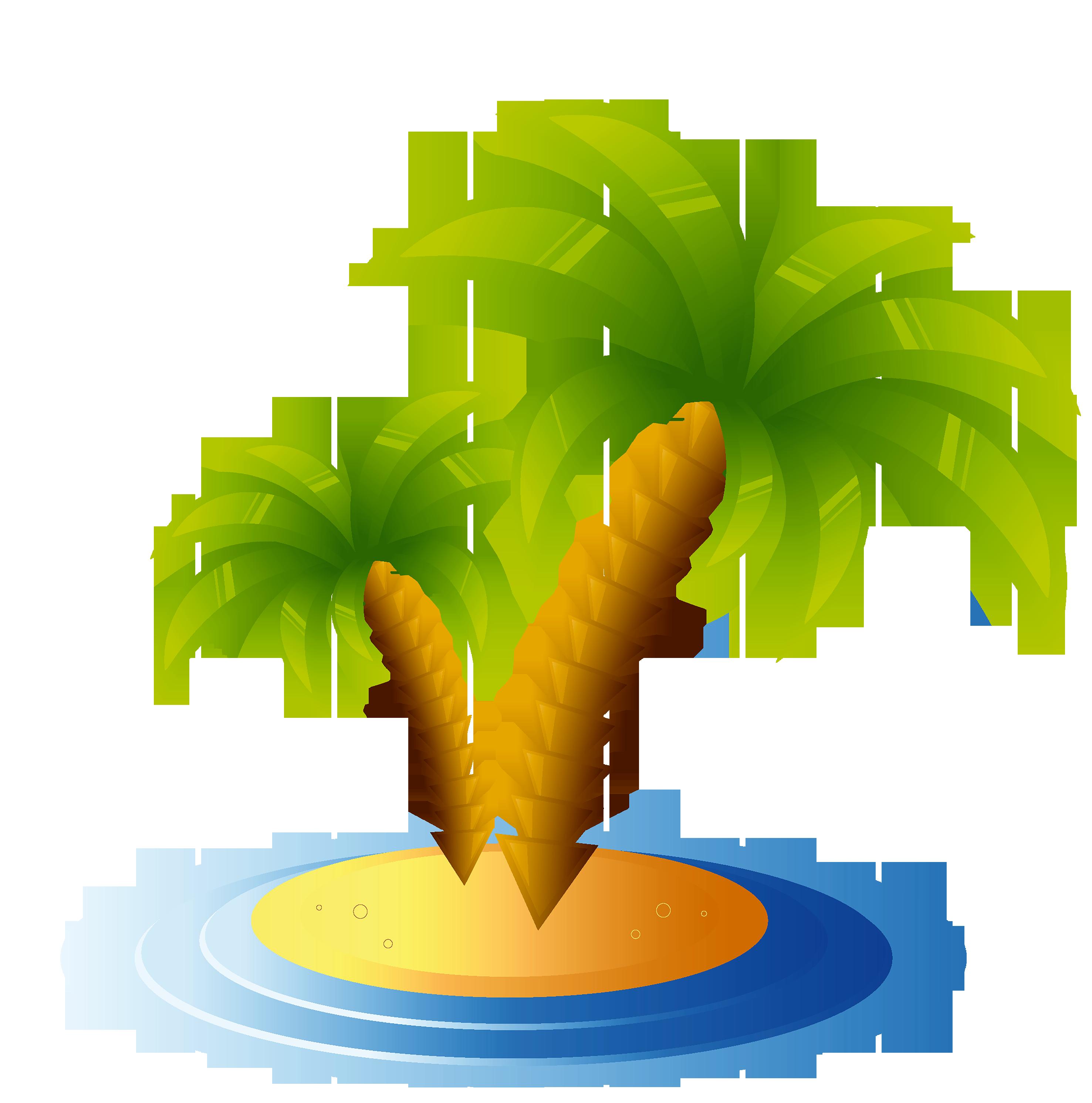 пальмы в летний пейзаж Вектор  Скачать