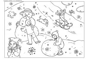 Картинки раскраски зимние забавы