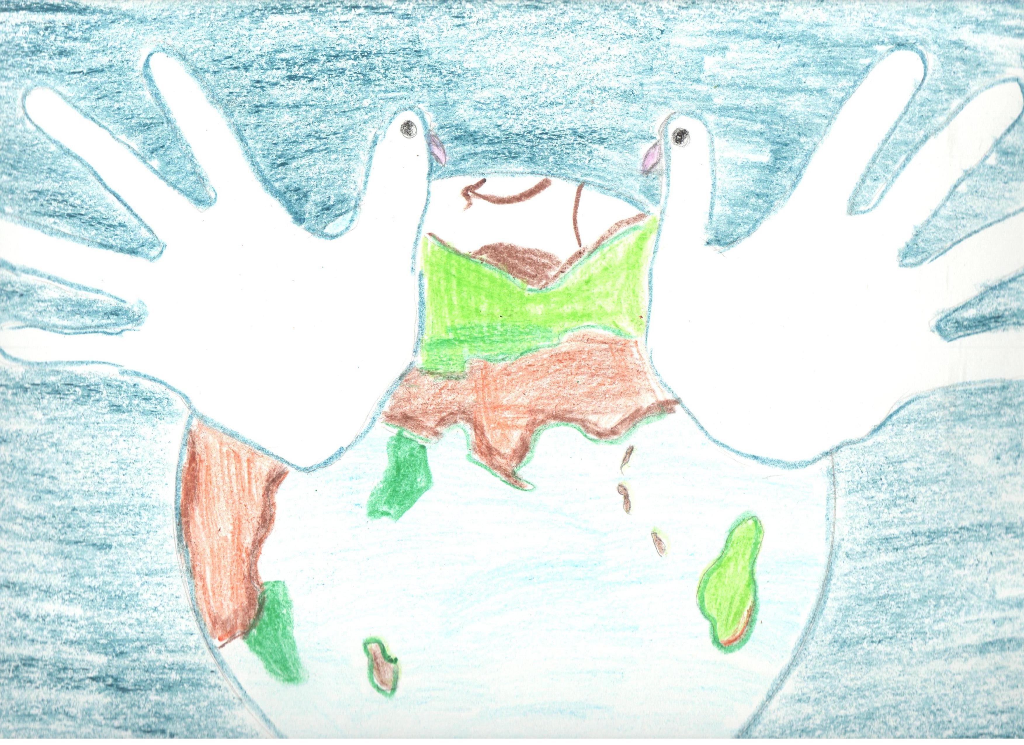 Нарисовать открытку мир, сердце