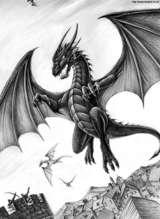 угощали картинки летящего дракона карандашом плюс том, что