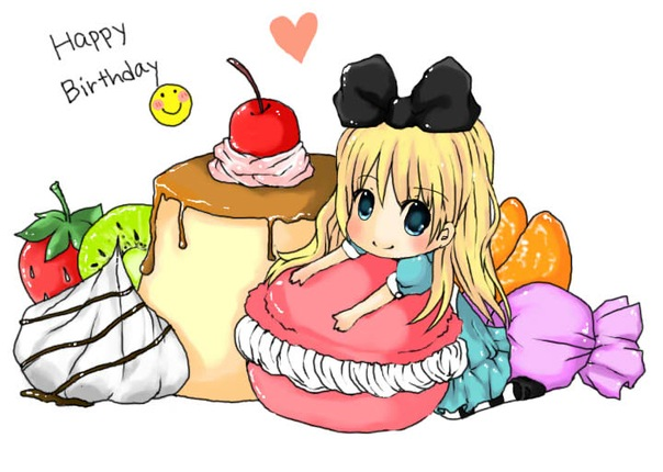Днем рождения, аниме открытка любимой